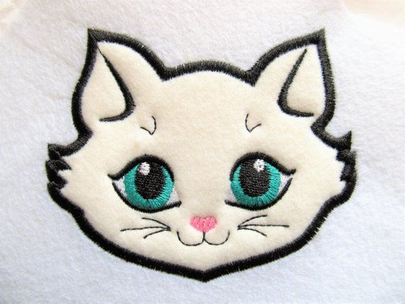 Kitty Cat Head Face Applique Embroidery Designs Cat Applique Kitty