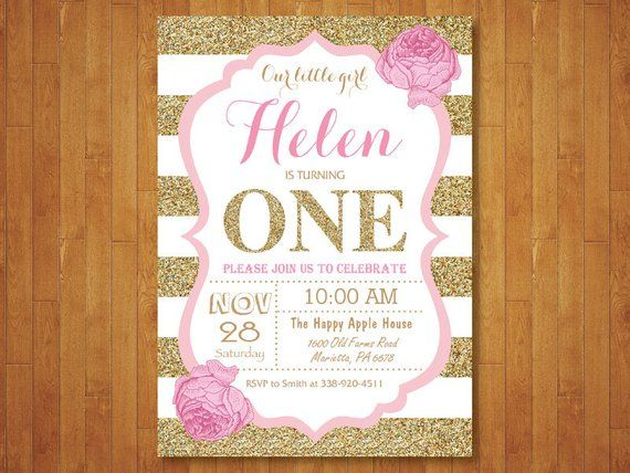 Pink And Gold First Birthday Invitation Girl Party Glitter White Black St