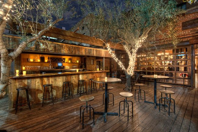 Aventine Hollywood   Outdoor Bar, Wood, Lights On Trees