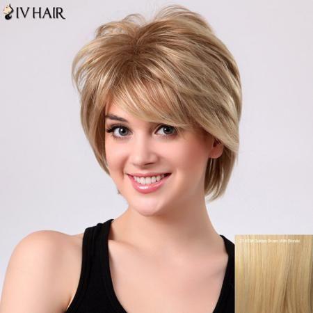 Fluffy Natural Straight Layered Siv Hair Side Bang Capless Human Hair Short Wig