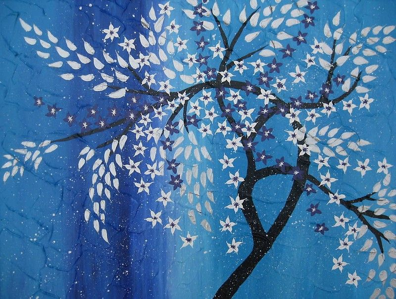 Cherry Blossom In The Snow Blue Purple Silver White Photographic Print By Cathyjacobs Tree Painting Tree Of Life Painting Zen Wall Art