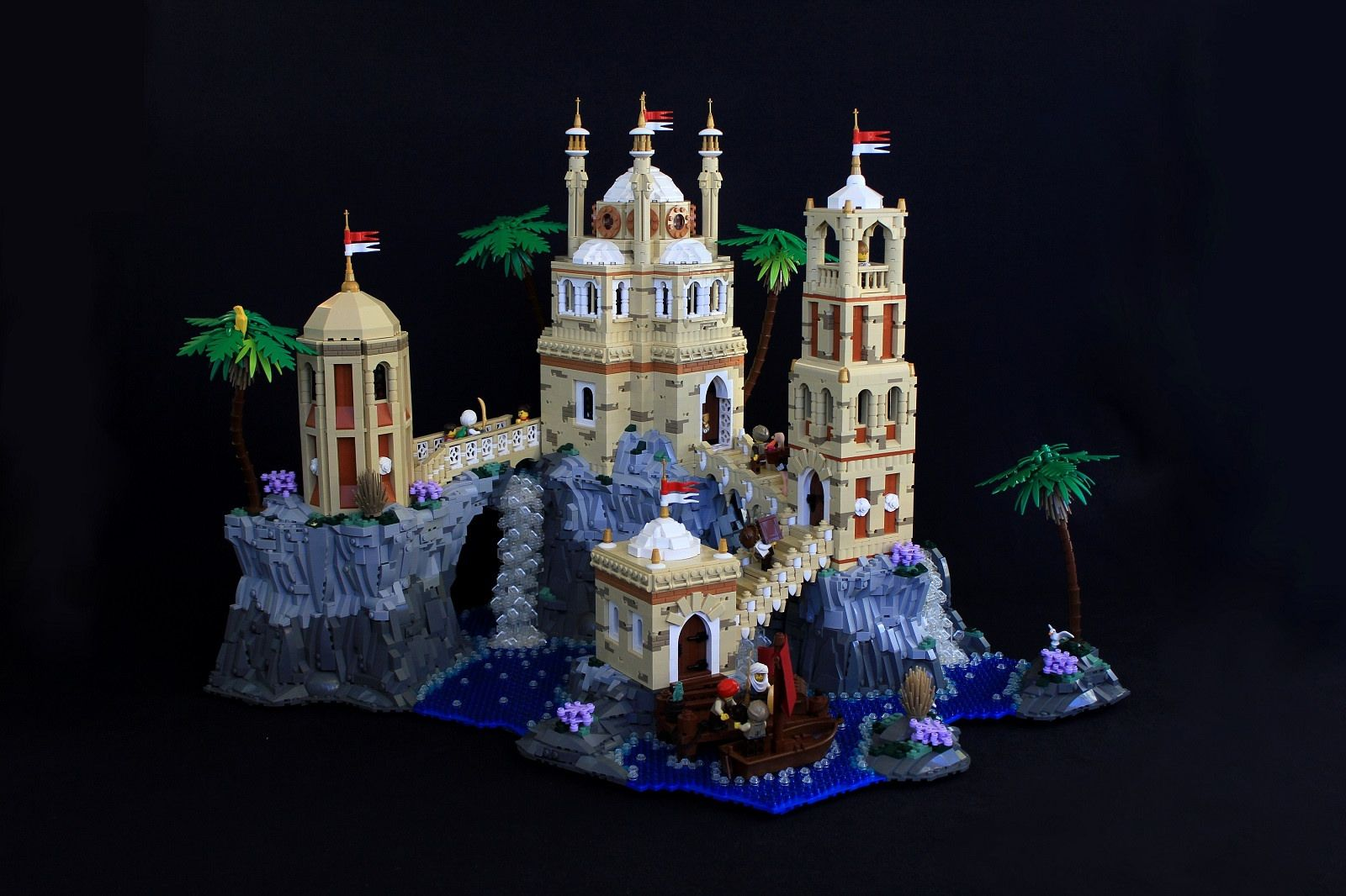 https://flic.kr/p/PmhRj9 | Qasr Albahr | Built for the large miscellaneous category of the 14th Colossal Castle Contest. The scene was inspired by this image: img03.deviantart.net/4e75/i/2011/183/7/0/fantasy_matte_pa.... It took about 2 weeks to build, and weighs 24.8 pounds, making it my largest solo build ever. Setting up the buildings layout and connecting them via bridges was the most challenging part, though the rockwork was most time consuming to build.  Qasr Albahr is a large trade…