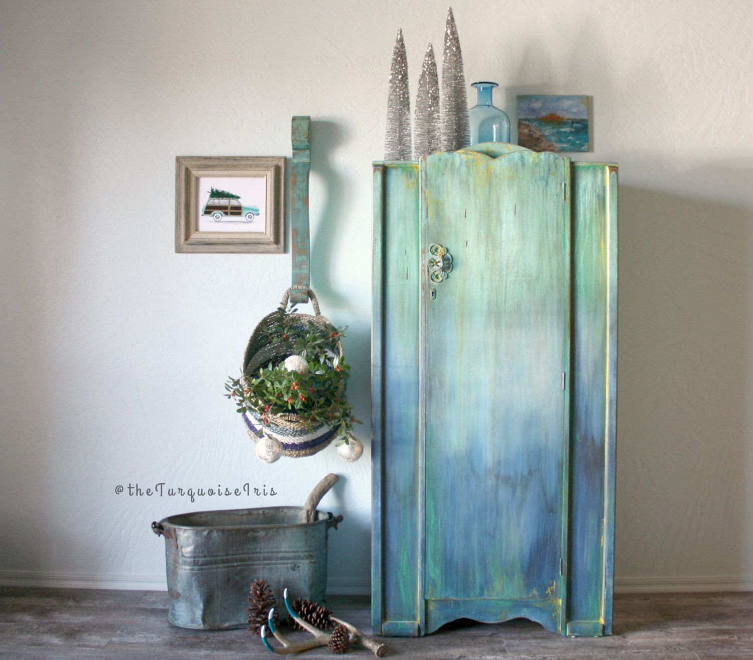 Boho Inspired Multi Colored Rustic Mini Wardrobe / Farmhouse / Cottage/ Coat  Closet / Antique