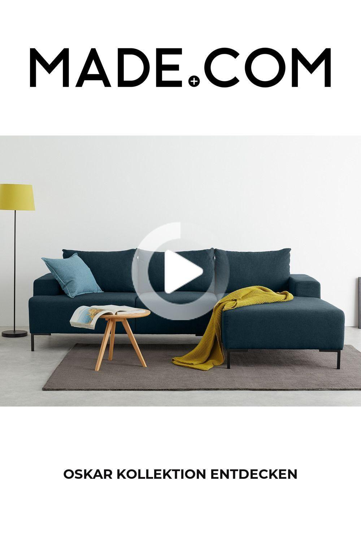 Made Ecksofa Blau Recamiere Modernes Sofa Ecksofa