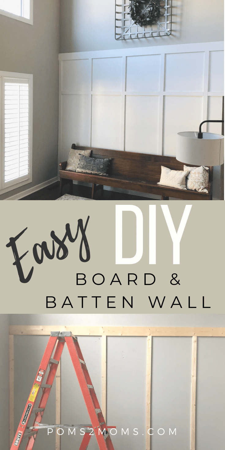 Looking to update an ordinary wall into a board and batten masterpiece? Here is a quick, easy, DIY board and batten accent wall guide  to create the wainscoting renovation of your dreams; featuring a DIY board and batten living room. #boardandbatten #diyboardandbatten  #boardandbattenlivingroom #accentwall #easyhomedecor #boardandbattenwall