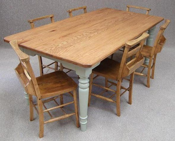 Oak Farmhouse Kitchen Table With U0027French Greyu0027 Painted Legs U0026 6 Chapel  Chairs