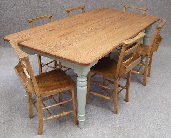 Oak Farmhouse Kitchen Table Six Vintage Chapel Chairs Mesas De Comedor Mesas Comedor