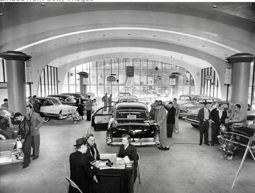 Here is a collection of vintage car dealership photos, mainly from ...