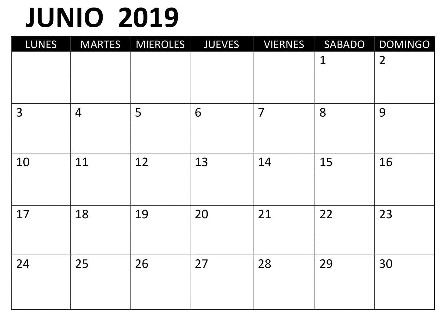 Calendario Su Excel.Junio Calendario 2019 Excel Calendario Junio 2019 June