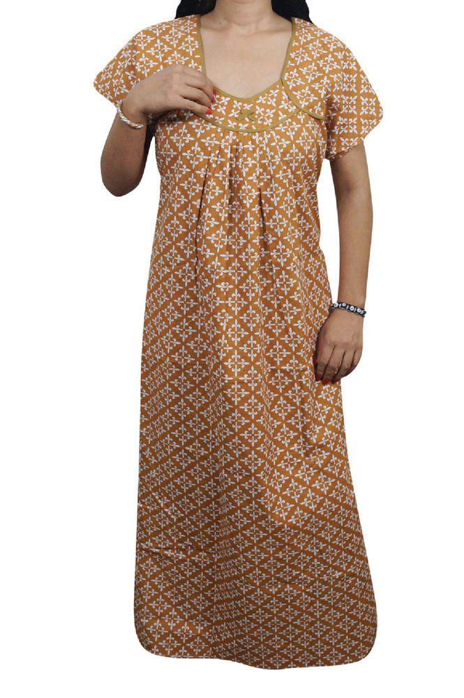 Indiatrendzs Women Maxi Nighty Cotton Sleepwear Printed Brown Night ...
