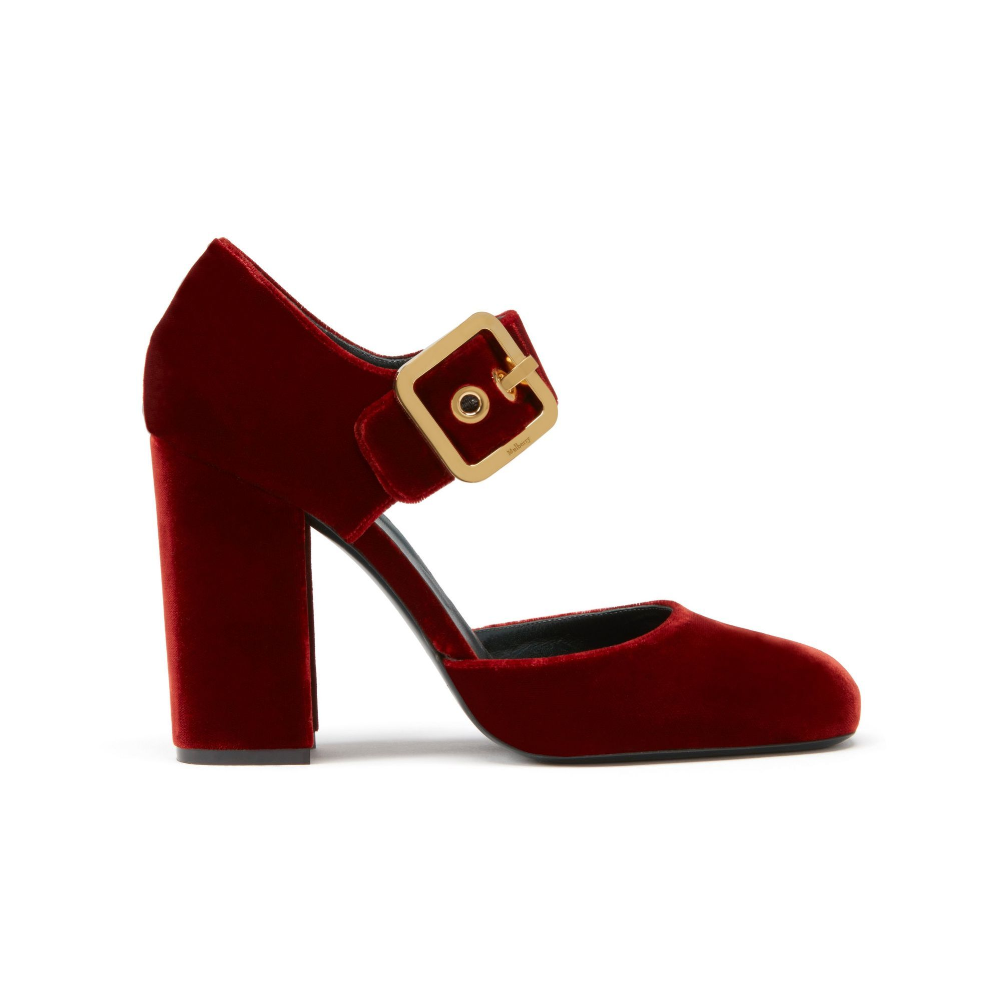 142878c73ff Shop the Buckle Mary-Jane Pump in Rust Velvet at Mulberry.com. A ...