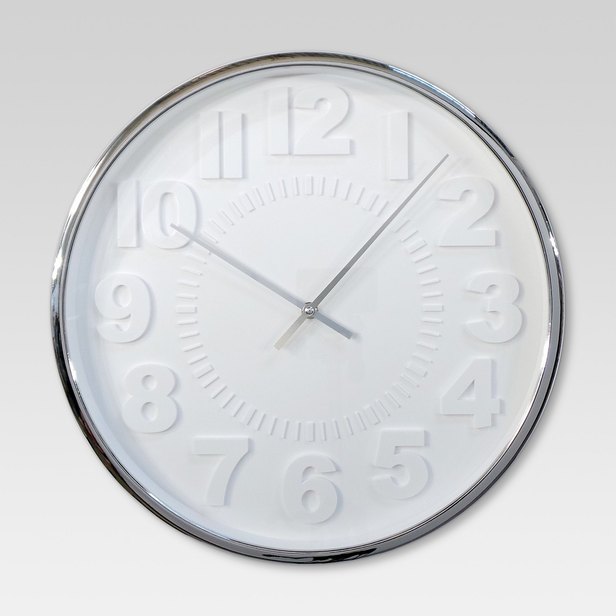 Raised Number 16 Wall Clock White Silver Project 62 Wall Clock Wall Clock Project Clock