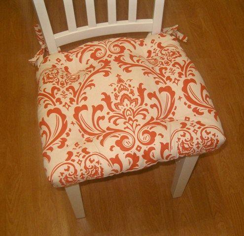 Set 4 Damask Chair Pads, Tufted, Seat Cushion, Traditions, Sweet Potato  Orange
