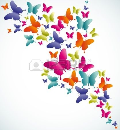 Primavera mariposa colorida composición. Ilustración vectorial en ...