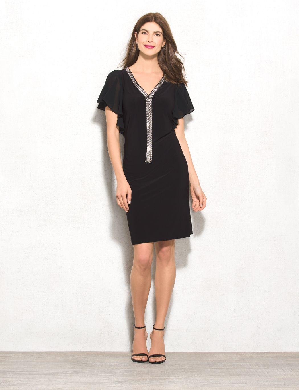 Ruffledsleeve rhinestoneembellished dress original price