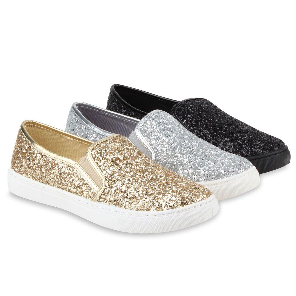 Flats Slip Glitzer Slipper Sneakers Skaterschuhe Damen 78349 Ons nmN80Oyvw