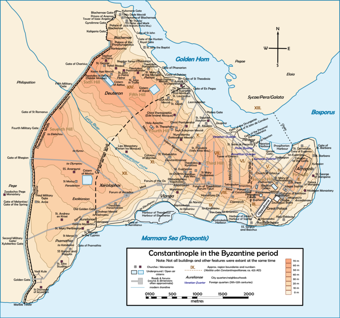 Constantinople Map   Byzantine   Constantinople map, Siege of ...