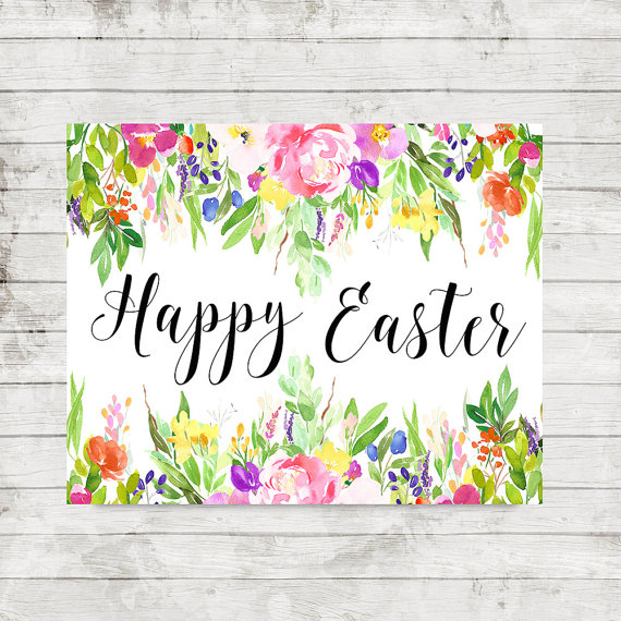 picture relating to Happy Easter Sign Printable identify Delighted Easter Printable Wall Artwork Watercolor Floral Decor