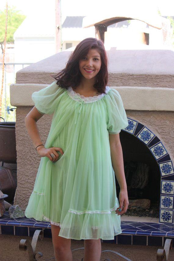 c095b1640617 Vintage LISETTE USA Peignoir Nightgown   Chiffon by 2Funky4MySelf Green  Lingerie