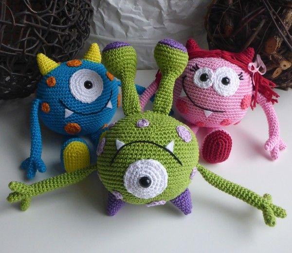 Häkelanleitung Kugelmonster Mick Crochet Stuff Animals Pinterest