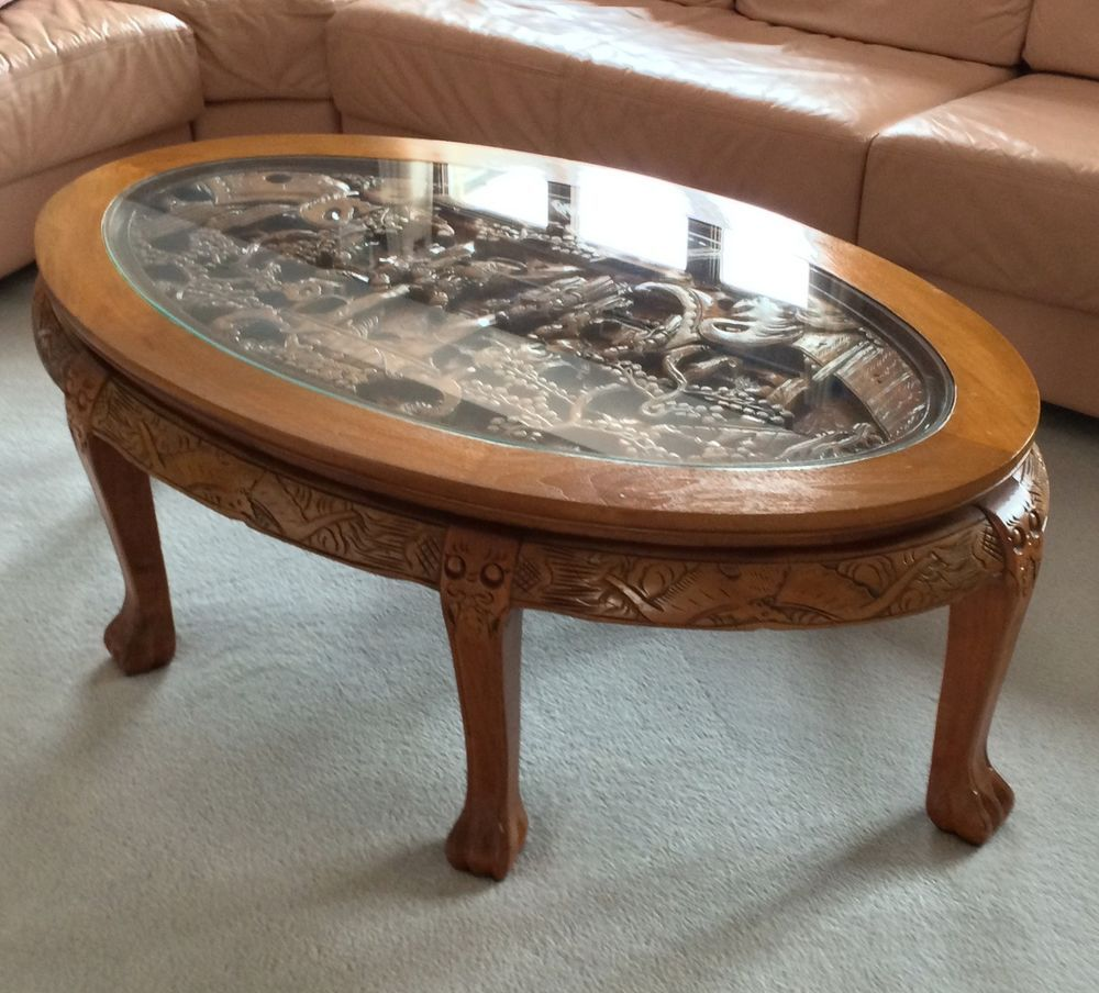 Amazing Hand Carved Chinese Coffee Table With Glass Top Great