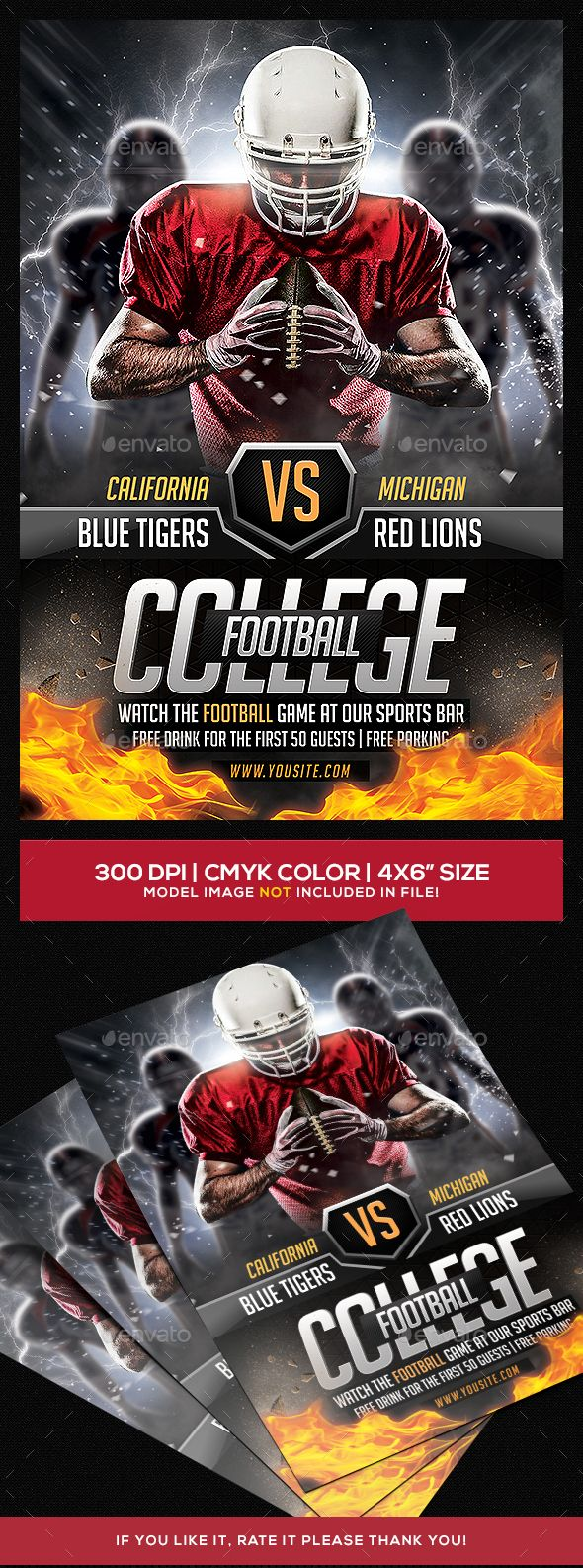 American Football Flyer V  American Football Flyer Template And