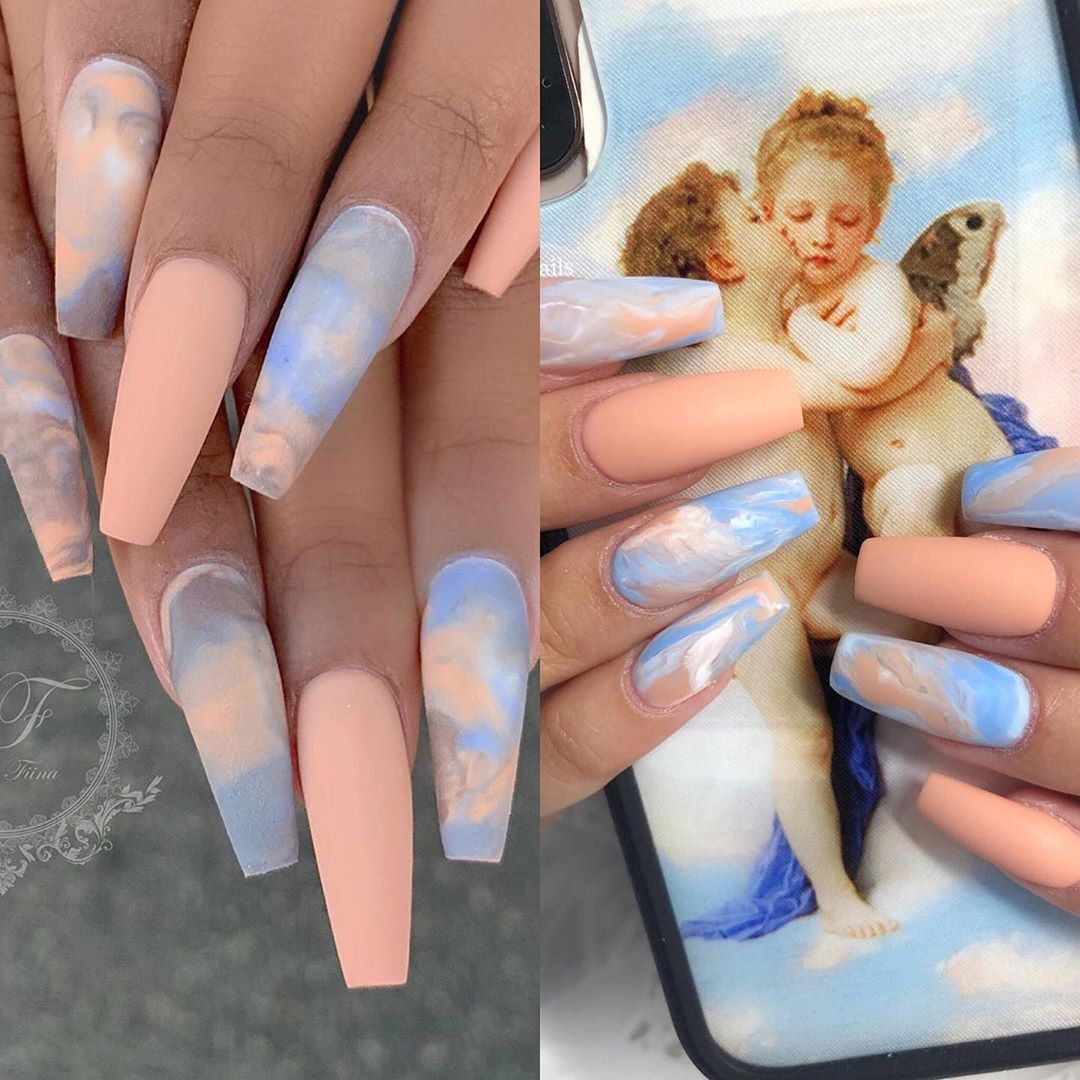 Blue Marble Cherub Angel Baby Acrylic Nails Baby Nails Pretty Acrylic Nails Ombre Nail Designs