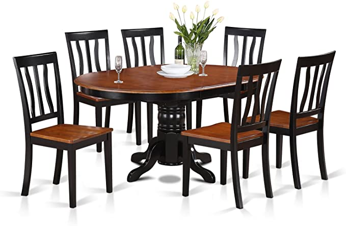 Amazon Com East West Furniture 7 Piece Set 6 Chairs A Beautiful Round Kitchen Wooden Seat M Round Dining Table Modern Dining Table Online Modern Dining Table