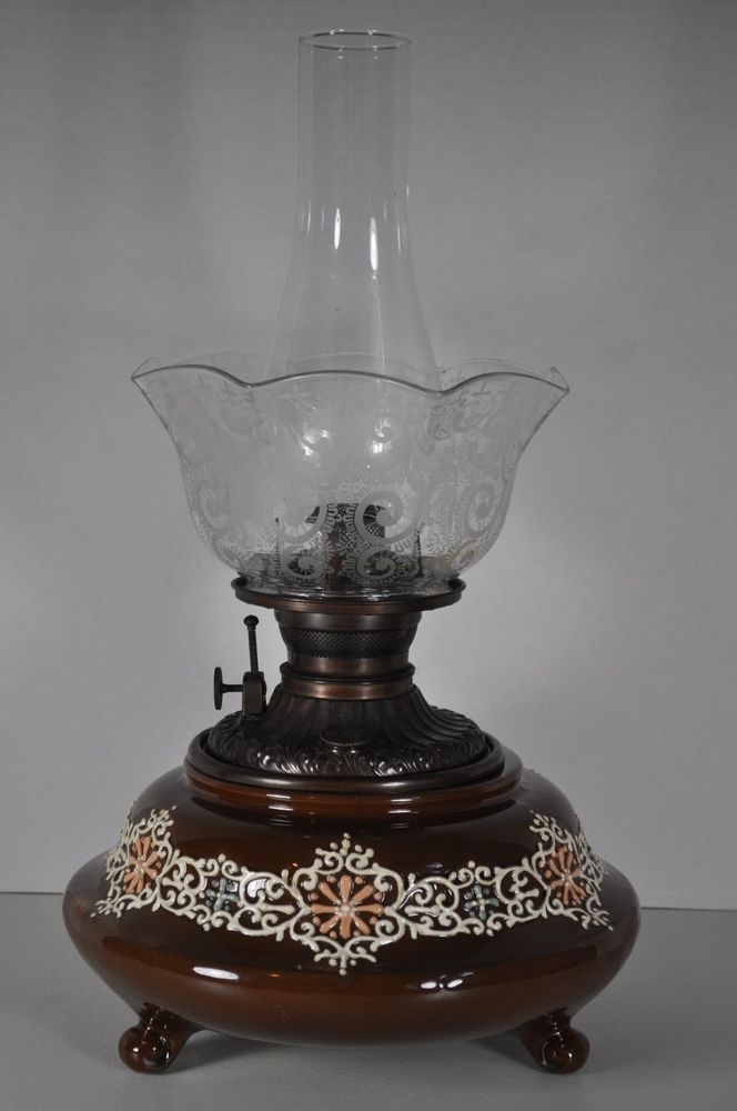 Rare Weller Turada Oil Lamp Complete With Shade Chimney Plume Atwood Burner Oil Lamps Kerosene Lamp Lamp