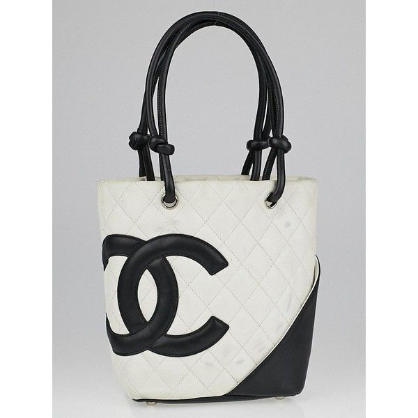 f588213d3d Pre-owned Chanel White/Black Quilted Ligne Cambon Small Tote Bag ($595) ❤  liked on Polyvore featuring bags, handbags, tote bags, quilted tote, quilted  ...