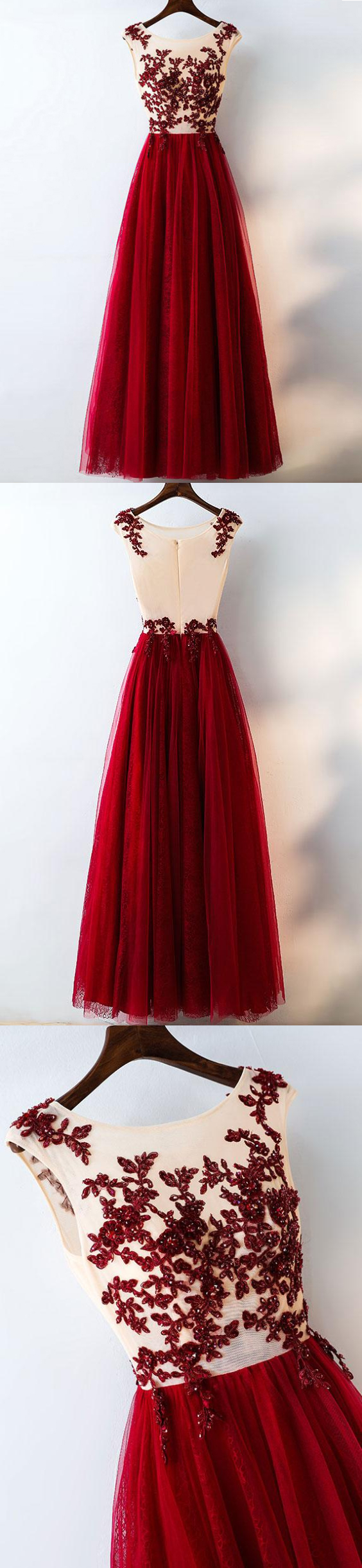 Chic burgundy prom dresses rhinestone scoop floorlength lace prom