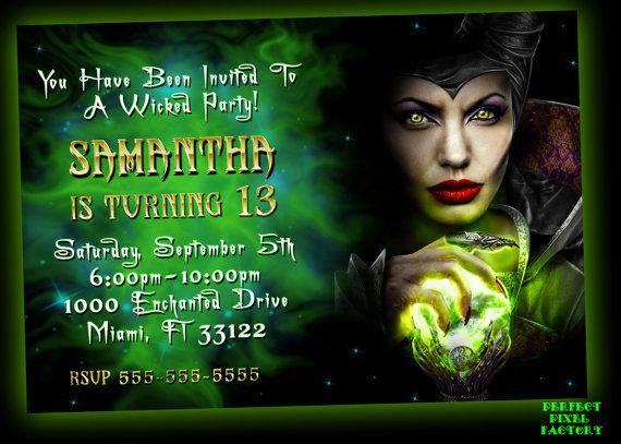MALEFICENT Invitation Maleficent Birthday by PerfectPixelFactory
