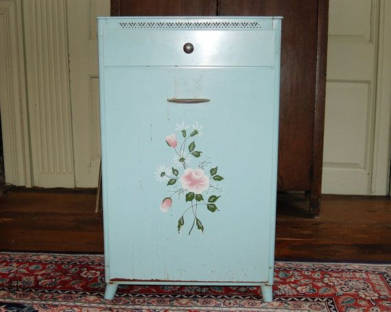 Shabby Chic Robin's Egg Blue Metal Laundry Bin With Drawer