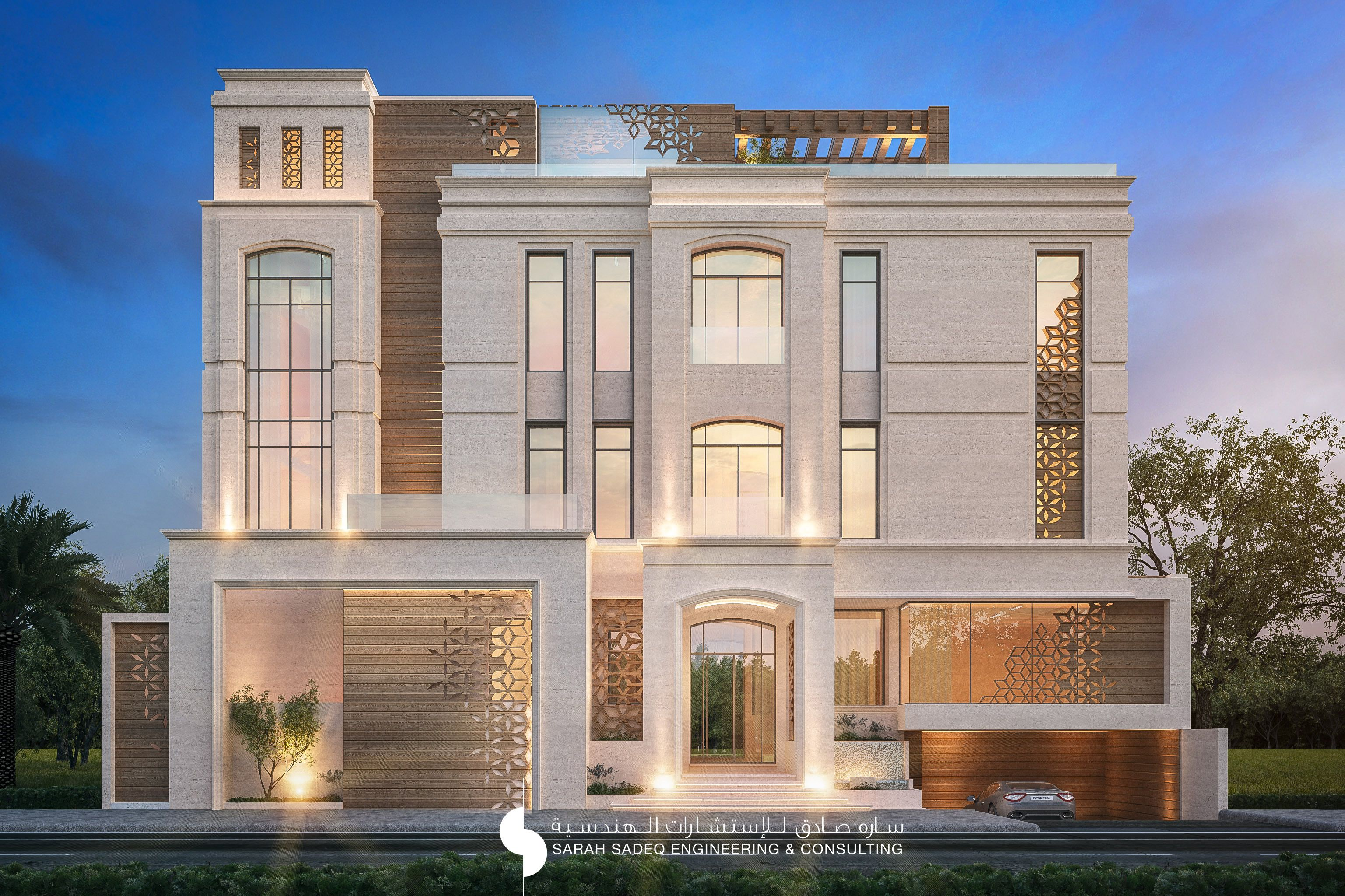 375 m private villa kuwait by sarah sadeq architects for Classic house design exterior