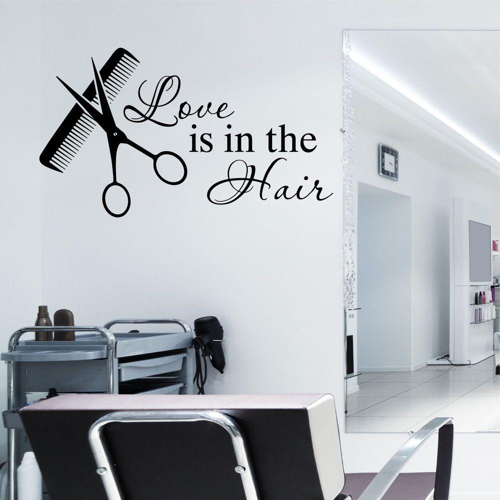 Hair Beauty Salon Wall Art Sticker Love Is In The Hair Vinyl