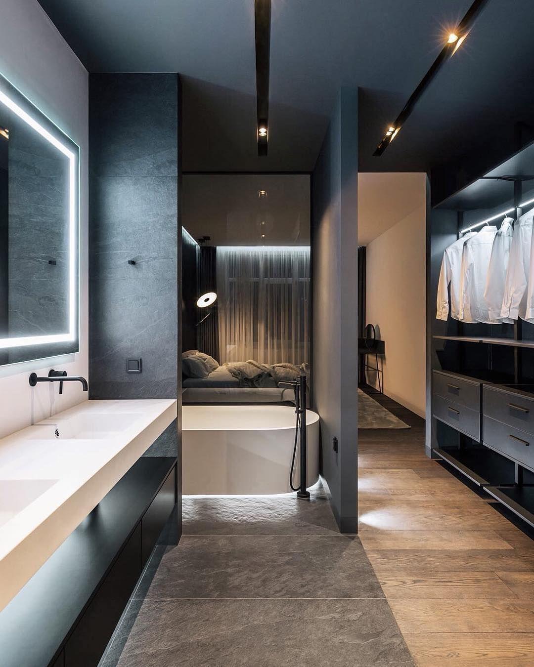 Bad Und Schlafzimmer Perfekt Integriert Was Sagt Ihr By Yodezeen Architects Via Architectu Badezimmereinrichtung Haus Design Modernes Badezimmerdesign