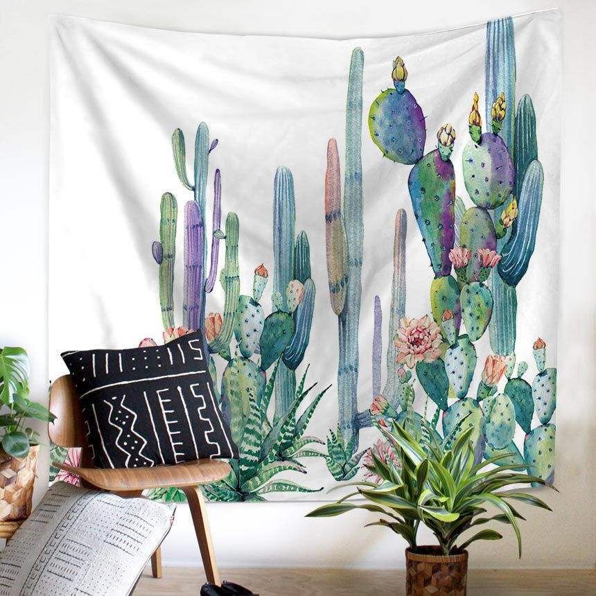 Spring Cactus Tapestry In 2019 Products Tapestry
