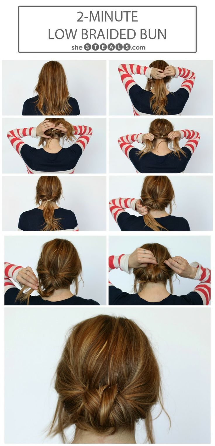 14 simple hair bun tutorial to keep you look chic in lazy days the 2 minute low braided bun tutorial for long hair long hair quick and easy updo baditri Choice Image