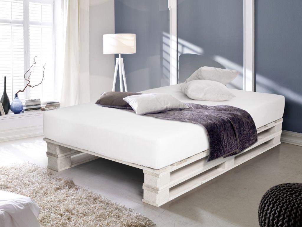 Paletti Duo Weiss Lackiert Bett Aus Paletten 90 X 200 Cm Bett Aus