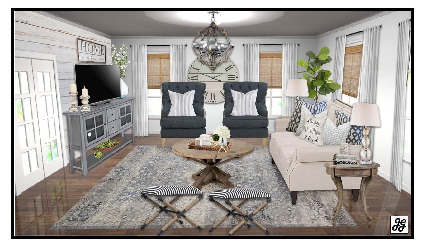 Living room blog post modern farmhouse decor online interior design full package from the concept board to floor plan shopping list and final also rh pinterest