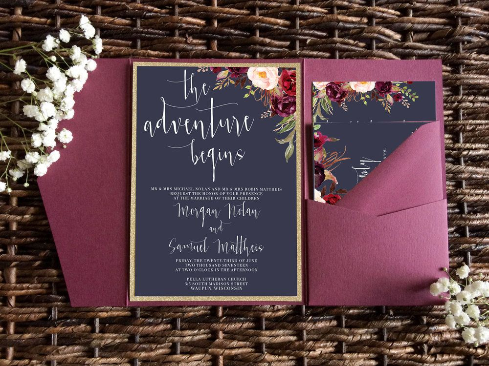 navy and marsala wedding invitation navy and burgundy