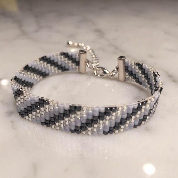 Bracelet Rayures Bleu Pastel