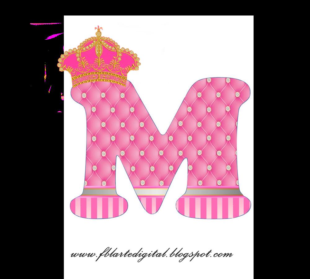 Alfabeto con Corona Dorada y Rosa. Pink Alphabet with Golden and ...
