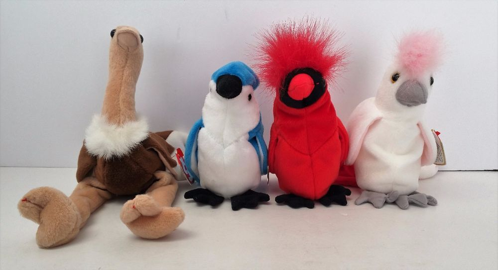 TY Original Beanie Babies Stretch Mac Rocket KuKu Birds Set of 4  #Ty #Bird