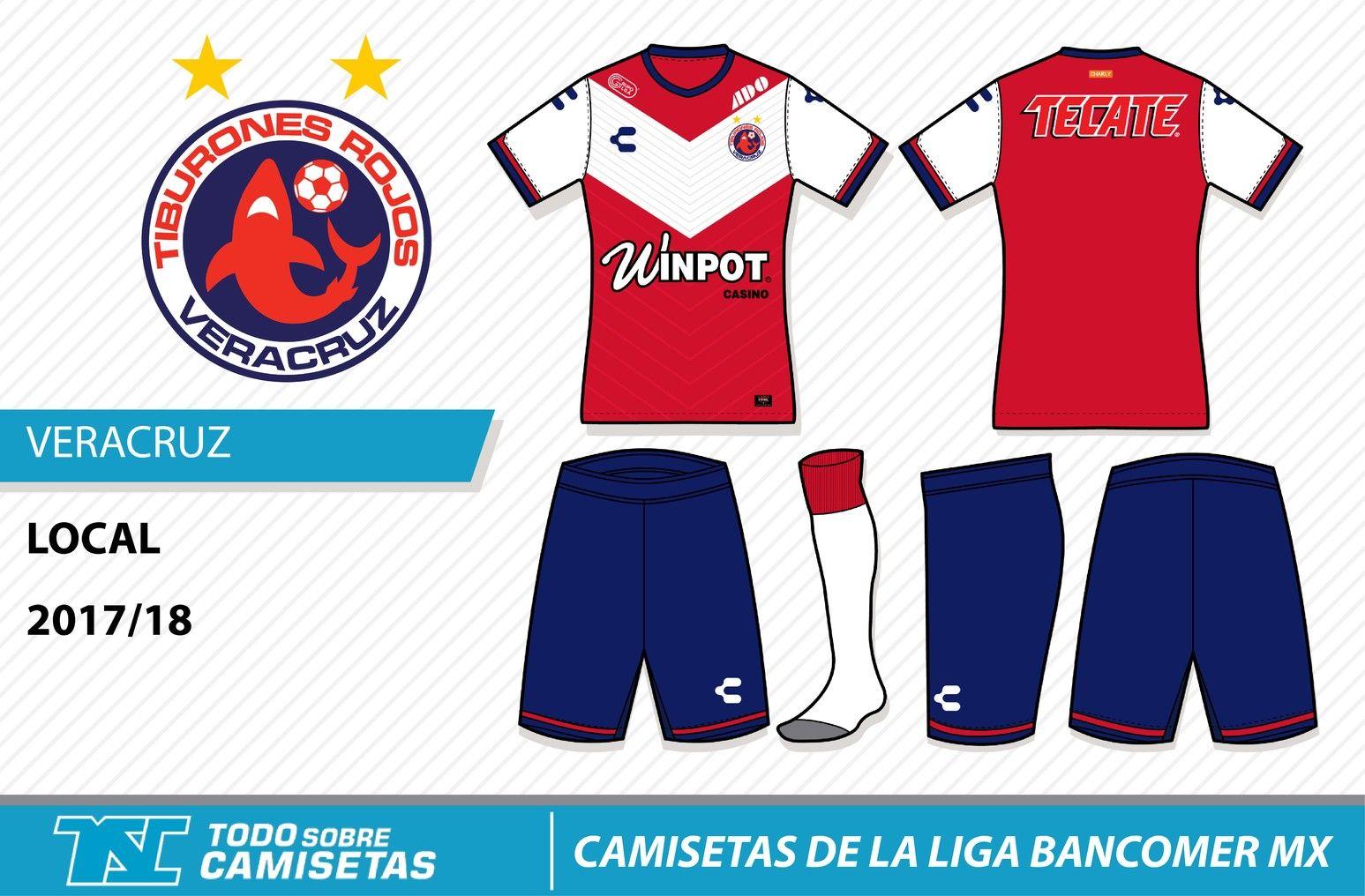 Camisetas de la Liga MX 2017-18 - Tiburones Veracruz