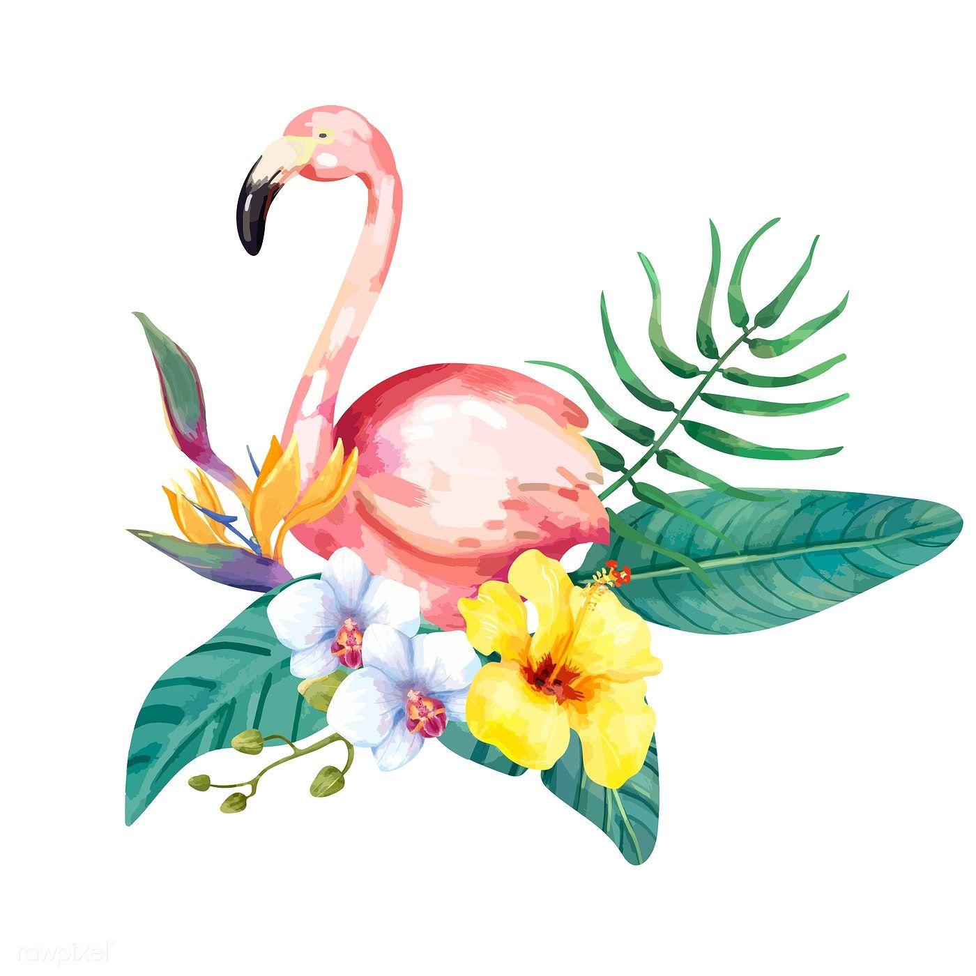 Download Premium Vector Of Hand Drawn Flamingo Bird With Tropical Flowers Flamingo Illustration Flamingo Bird Bird Illustration
