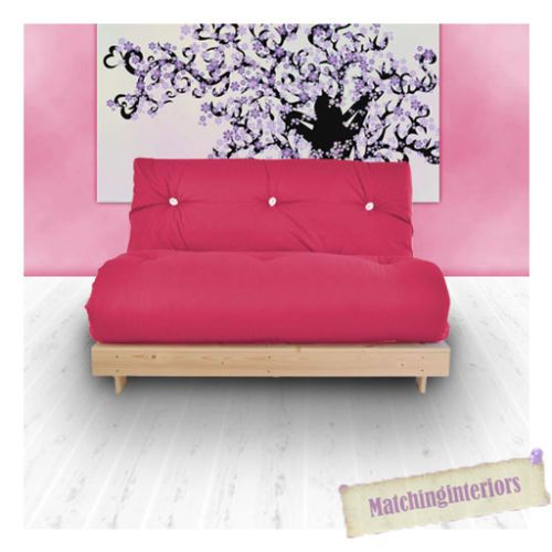 Pink Budget Double Futon Cotton Mattress 2 Seater Sofabed