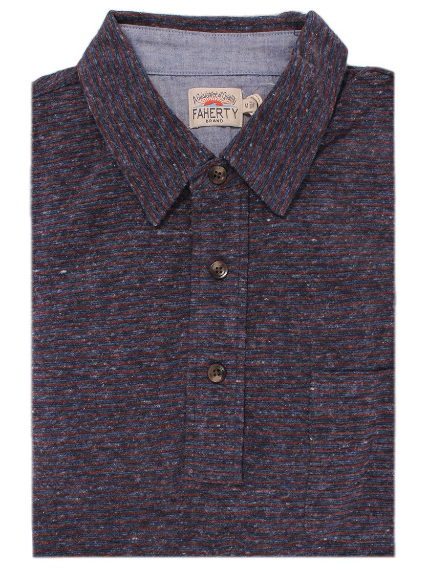 d4df2155a733 Faherty Brand Luxe Heather Long-Sleeve Polo in Navy Rust Stripe ...