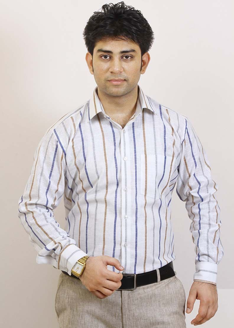 9b76dc088a2c Buy Striped Blue and White Formal Shirt For Men Online in India ...