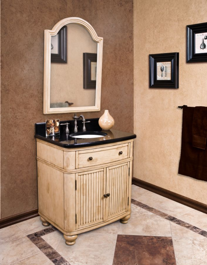 Antique Cottage Bathroom Vanity Distressed White French